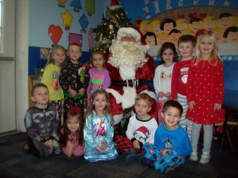 Santa visits Mrs. Shelly's Class
